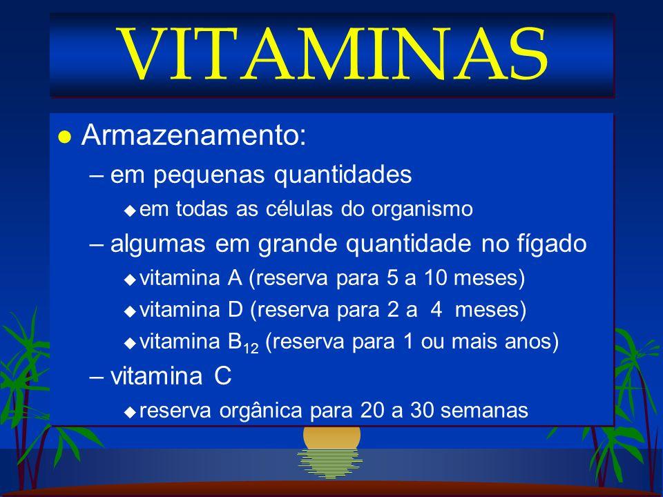 l Armazenamento: –em pequenas quantidades u em todas as células do organismo –algumas em grande quantidade no fígado u vitamina A (reserva para 5 a 10 meses) u vitamina D (reserva para 2 a 4 meses) u vitamina B 12 (reserva para 1 ou mais anos) –vitamina C u reserva orgânica para 20 a 30 semanas l Armazenamento: –em pequenas quantidades u em todas as células do organismo –algumas em grande quantidade no fígado u vitamina A (reserva para 5 a 10 meses) u vitamina D (reserva para 2 a 4 meses) u vitamina B 12 (reserva para 1 ou mais anos) –vitamina C u reserva orgânica para 20 a 30 semanas VITAMINAS