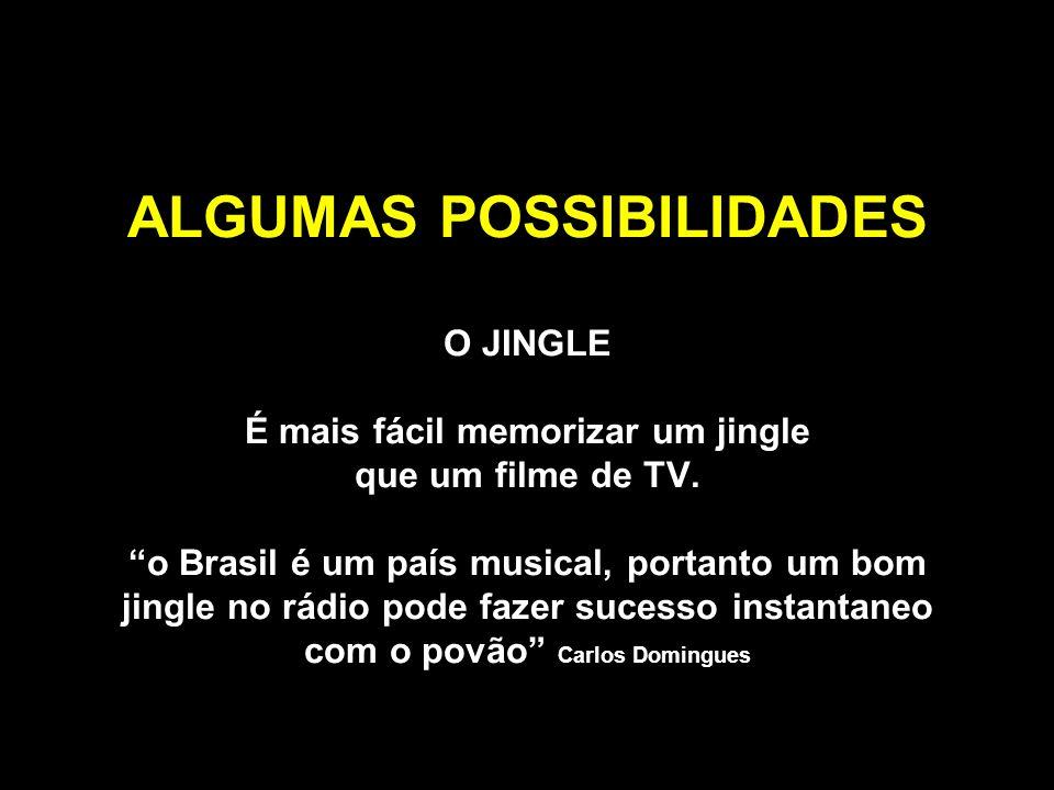 ALGUMAS POSSIBILIDADES O JINGLE É mais fácil memorizar um jingle que um filme de TV. o Brasil é um país musical, portanto um bom jingle no rádio pode