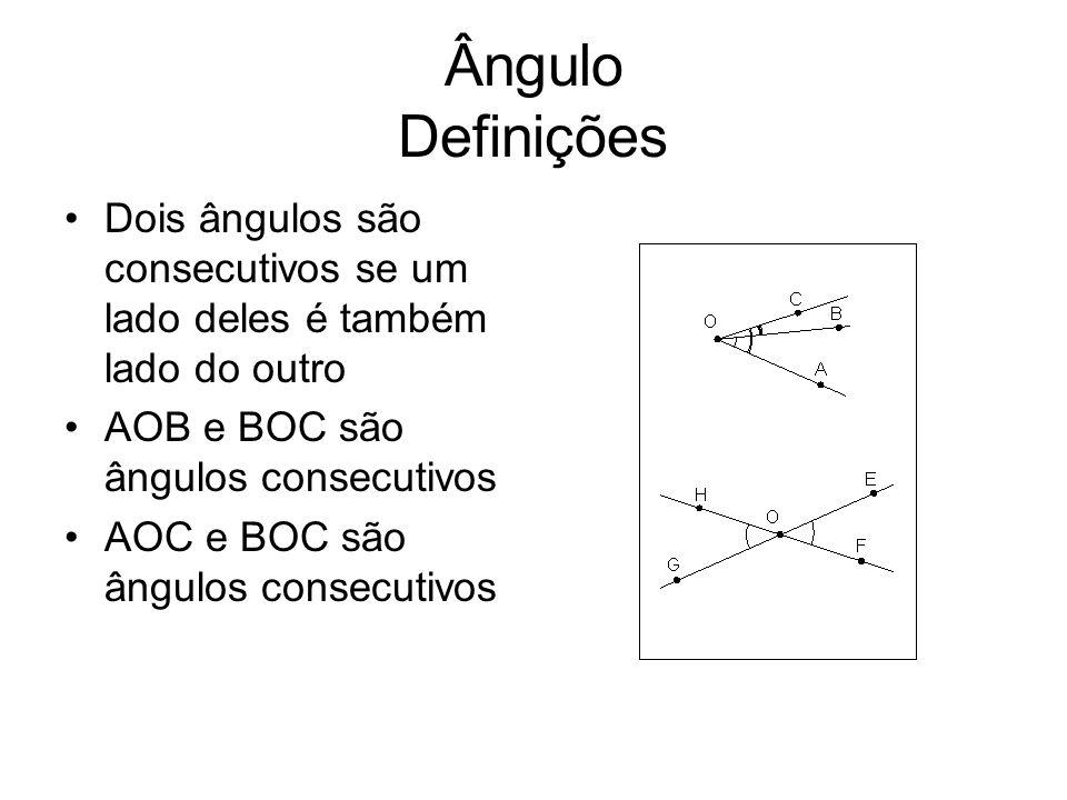 Ângulo Definições Dois ângulos são opostos pelo vértice se os lados de um são as respectivas semi-retas opostas aos lados do outro HOG e EOF são ângulos opostos pelo vértice (o.p.v.) Ângulos opostos pelo vértice são congruentes