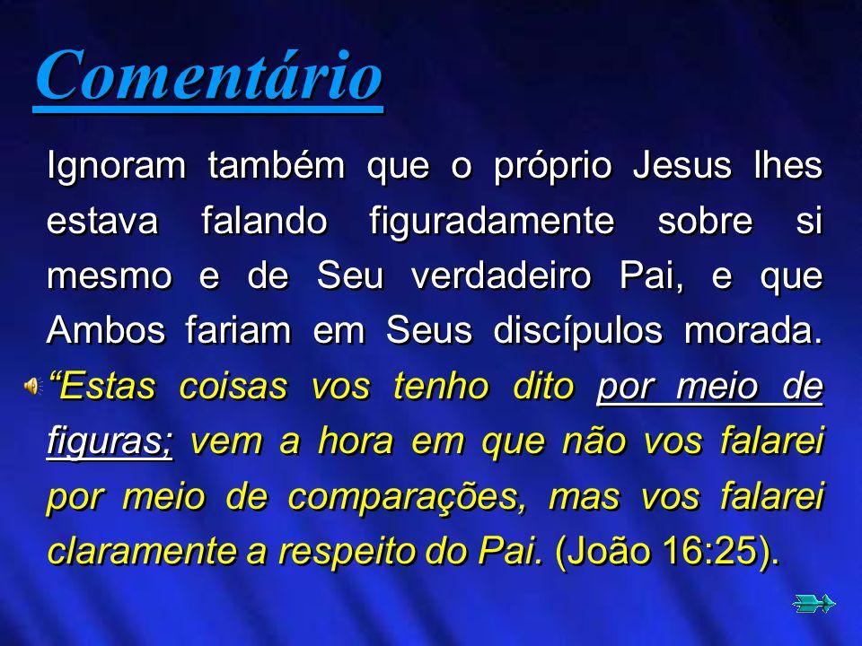 Ignoram também que o próprio Jesus lhes estava falando figuradamente sobre si mesmo e de Seu verdadeiro Pai, e que Ambos fariam em Seus discípulos mor