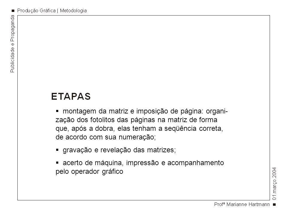 montagem da matriz e imposição de página: organi- zação dos fotolitos das páginas na matriz de forma que, após a dobra, elas tenham a seqüência corret