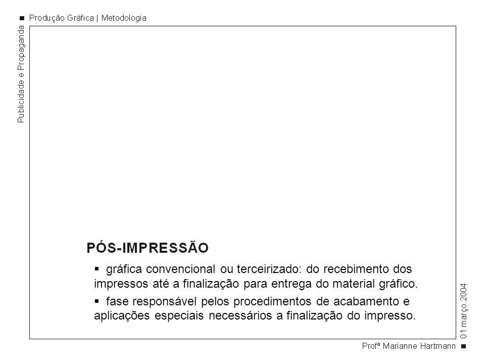 gráfica convencional ou terceirizado: do recebimento dos impressos até a finalização para entrega do material gráfico. fase responsável pelos procedim