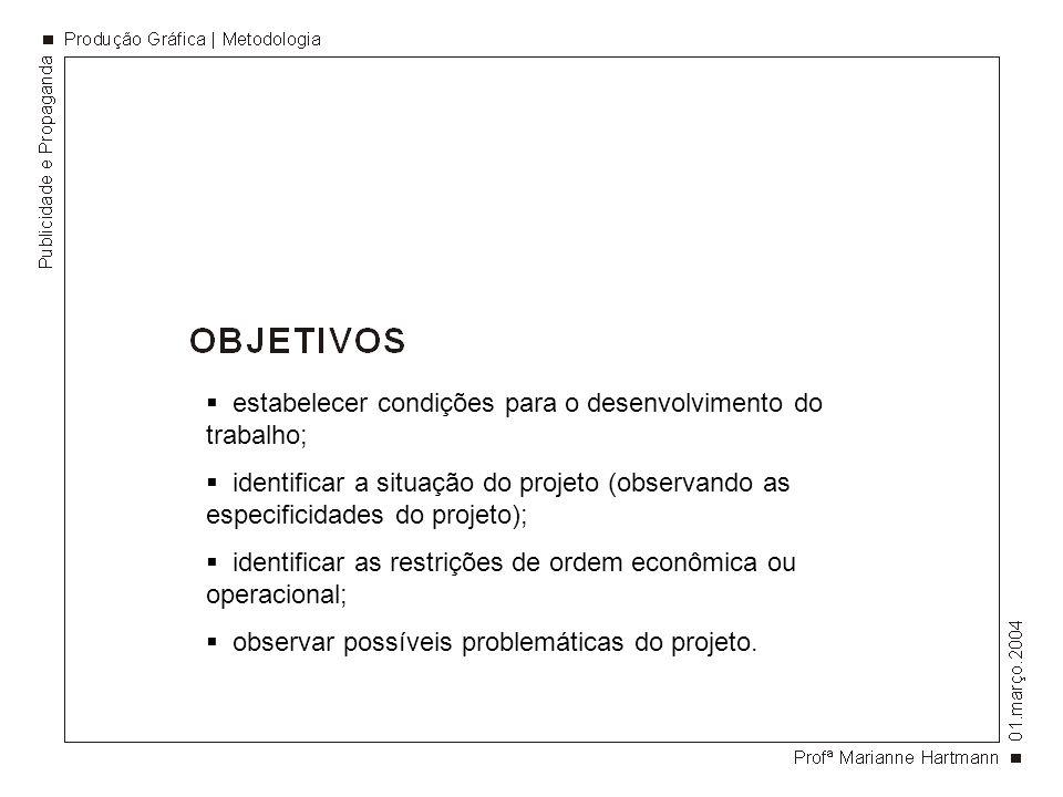 estabelecer condições para o desenvolvimento do trabalho; identificar a situação do projeto (observando as especificidades do projeto); identificar as