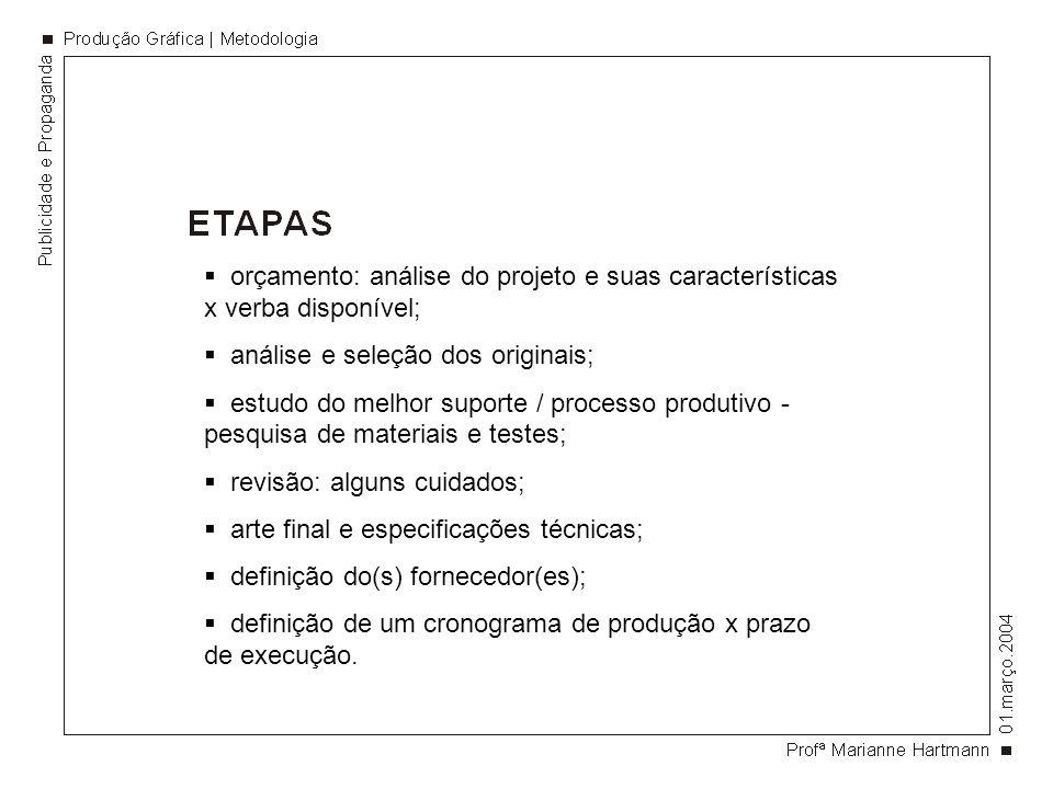 orçamento: análise do projeto e suas características x verba disponível; análise e seleção dos originais; estudo do melhor suporte / processo produtiv