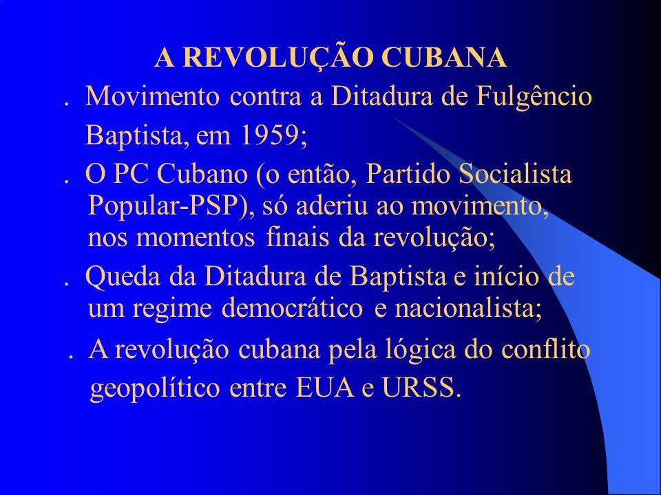 A REVOLUÇÃO CUBANA. Movimento contra a Ditadura de Fulgêncio Baptista, em 1959;. O PC Cubano (o então, Partido Socialista Popular-PSP), só aderiu ao m