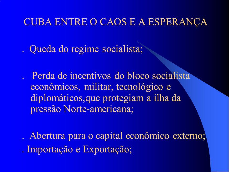 CUBA ENTRE O CAOS E A ESPERANÇA. Queda do regime socialista;. Perda de incentivos do bloco socialista econômicos, militar, tecnológico e diplomáticos,
