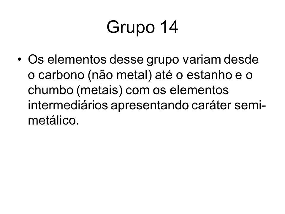 Grupo 14 Os elementos desse grupo variam desde o carbono (não metal) até o estanho e o chumbo (metais) com os elementos intermediários apresentando ca