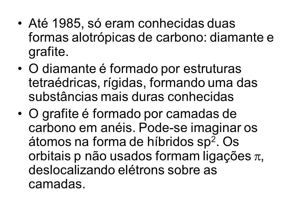 Até 1985, só eram conhecidas duas formas alotrópicas de carbono: diamante e grafite. O diamante é formado por estruturas tetraédricas, rígidas, forman