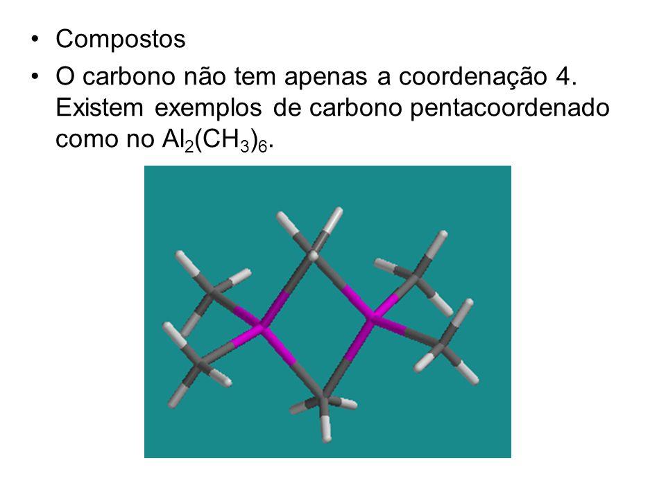 Compostos O carbono não tem apenas a coordenação 4. Existem exemplos de carbono pentacoordenado como no Al 2 (CH 3 ) 6.