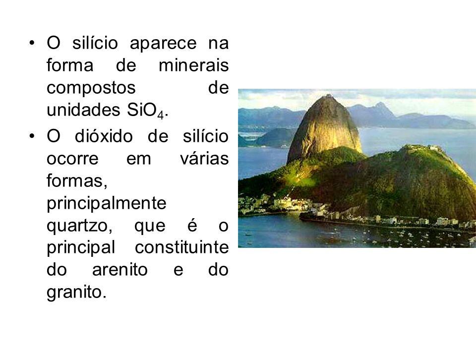 O silício aparece na forma de minerais compostos de unidades SiO 4. O dióxido de silício ocorre em várias formas, principalmente quartzo, que é o prin