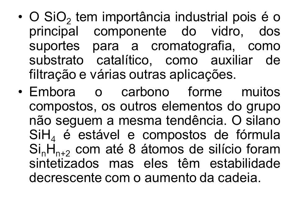 O SiO 2 tem importância industrial pois é o principal componente do vidro, dos suportes para a cromatografia, como substrato catalítico, como auxiliar