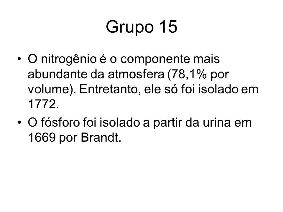 Grupo 15 O nitrogênio é o componente mais abundante da atmosfera (78,1% por volume). Entretanto, ele só foi isolado em 1772. O fósforo foi isolado a p