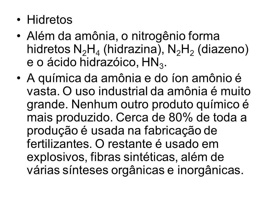 Hidretos Além da amônia, o nitrogênio forma hidretos N 2 H 4 (hidrazina), N 2 H 2 (diazeno) e o ácido hidrazóico, HN 3. A química da amônia e do íon a