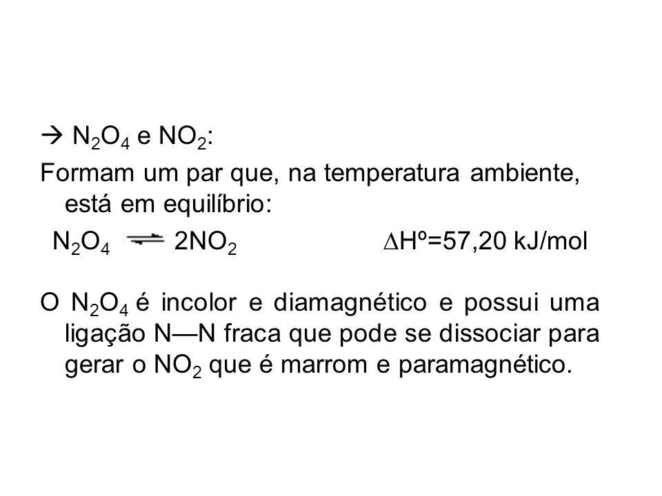 N 2 O 4 e NO 2 : Formam um par que, na temperatura ambiente, está em equilíbrio: N 2 O 4 2NO 2 Hº=57,20 kJ/mol O N 2 O 4 é incolor e diamagnético e po