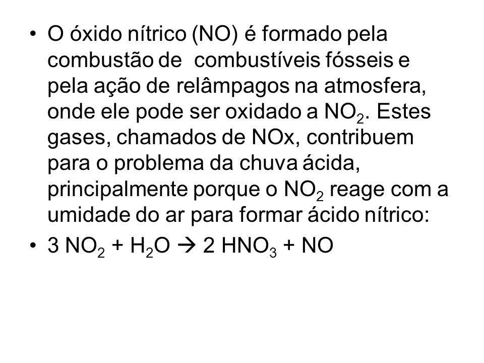 O óxido nítrico (NO) é formado pela combustão de combustíveis fósseis e pela ação de relâmpagos na atmosfera, onde ele pode ser oxidado a NO 2. Estes