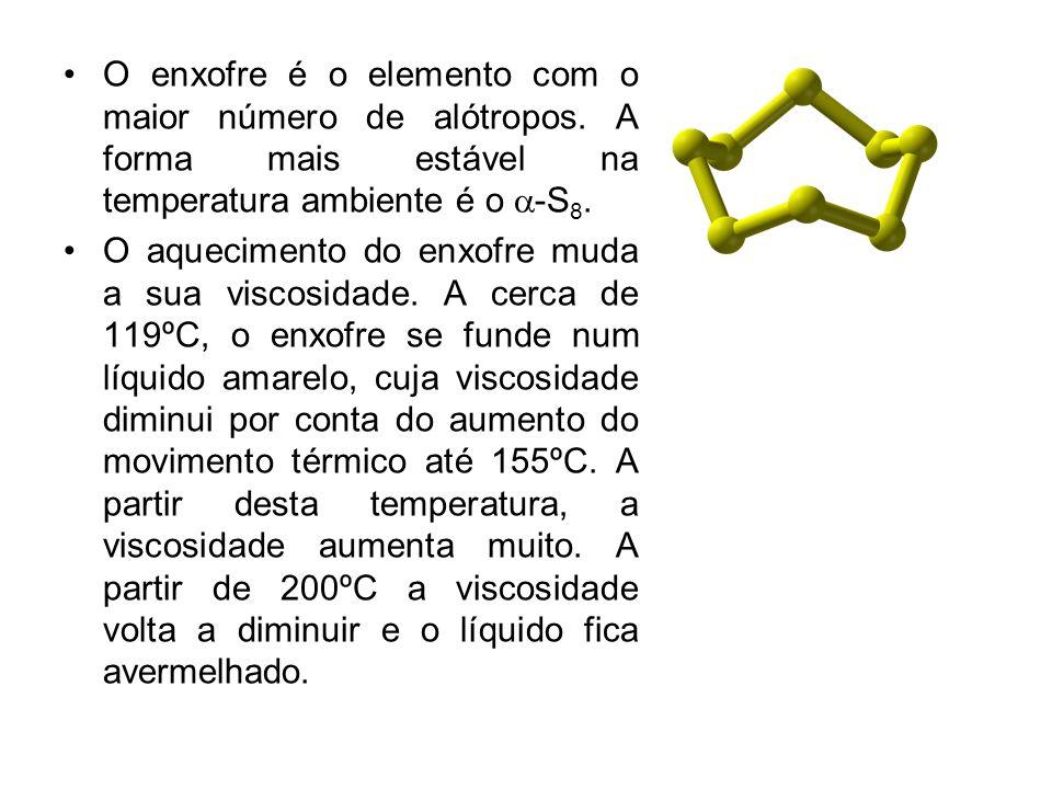 O enxofre é o elemento com o maior número de alótropos. A forma mais estável na temperatura ambiente é o -S 8. O aquecimento do enxofre muda a sua vis