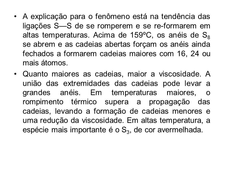 A explicação para o fenômeno está na tendência das ligações SS de se romperem e se re-formarem em altas temperaturas. Acima de 159ºC, os anéis de S 8