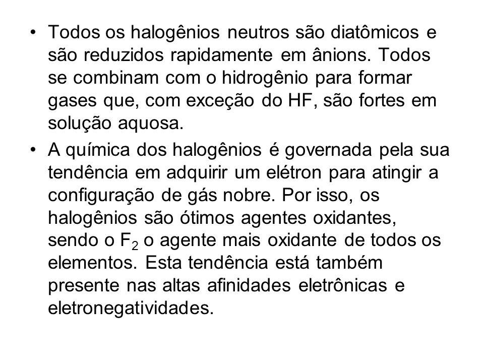 Todos os halogênios neutros são diatômicos e são reduzidos rapidamente em ânions. Todos se combinam com o hidrogênio para formar gases que, com exceçã
