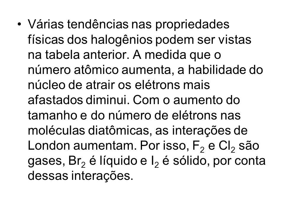 Várias tendências nas propriedades físicas dos halogênios podem ser vistas na tabela anterior. A medida que o número atômico aumenta, a habilidade do