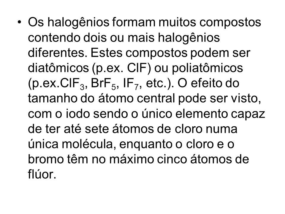 Os halogênios formam muitos compostos contendo dois ou mais halogênios diferentes. Estes compostos podem ser diatômicos (p.ex. ClF) ou poliatômicos (p