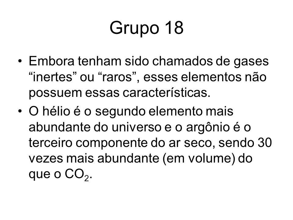 Grupo 18 Embora tenham sido chamados de gases inertes ou raros, esses elementos não possuem essas características. O hélio é o segundo elemento mais a