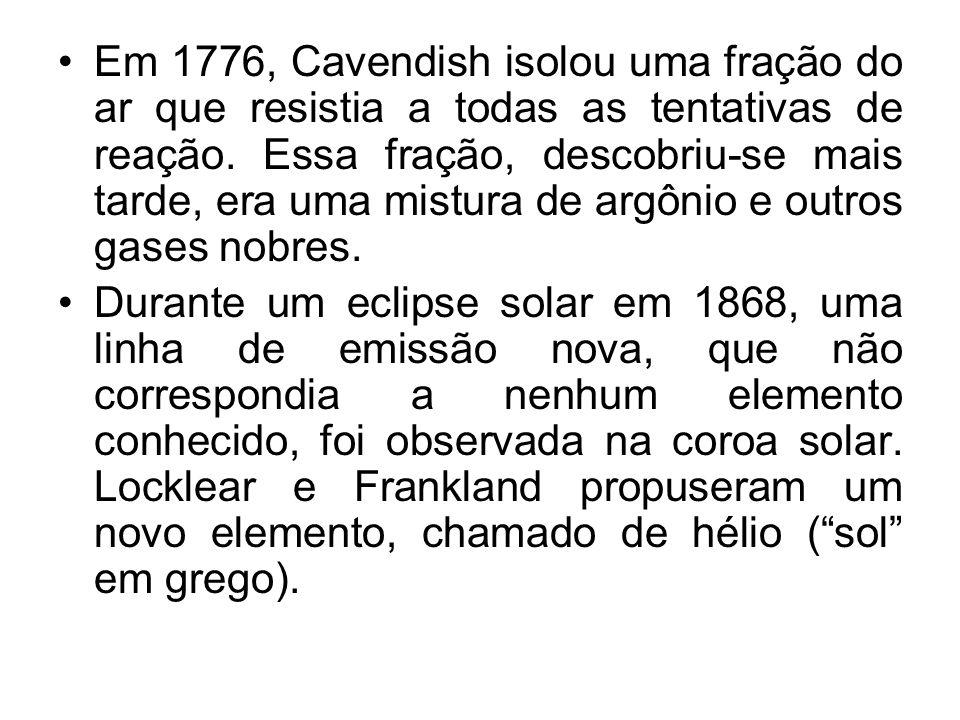 Em 1776, Cavendish isolou uma fração do ar que resistia a todas as tentativas de reação. Essa fração, descobriu-se mais tarde, era uma mistura de argô