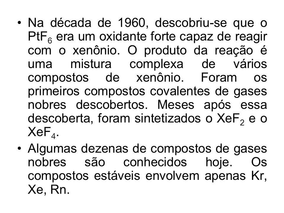 Na década de 1960, descobriu-se que o PtF 6 era um oxidante forte capaz de reagir com o xenônio. O produto da reação é uma mistura complexa de vários