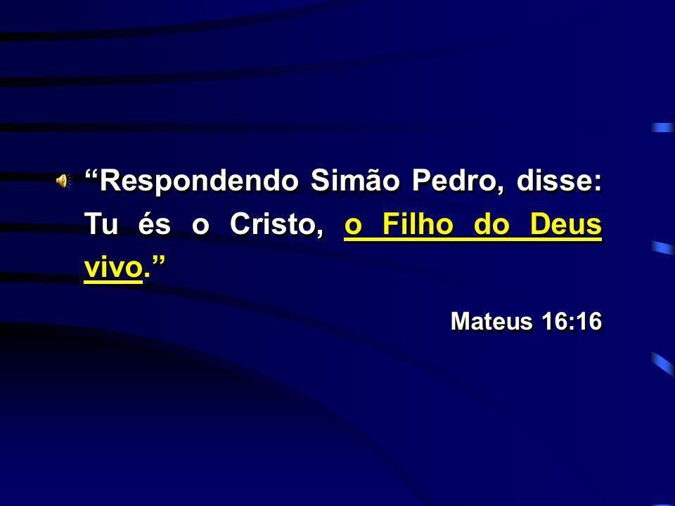 Respondendo Simão Pedro, disse: Tu és o Cristo, o Filho do Deus vivo. Mateus 16:16 Respondendo Simão Pedro, disse: Tu és o Cristo, o Filho do Deus viv