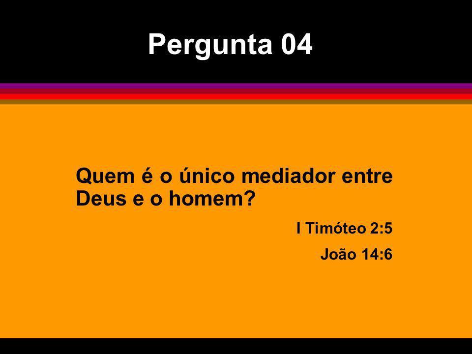 Quem é o único mediador entre Deus e o homem? I Timóteo 2:5 João 14:6 Pergunta 04