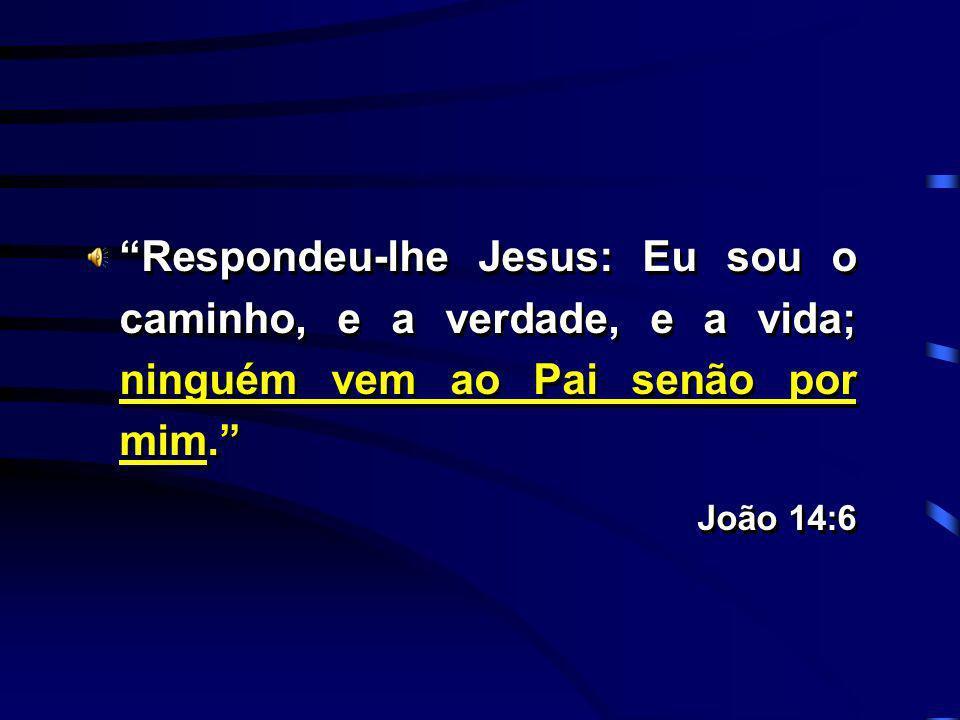 Respondeu-lhe Jesus: Eu sou o caminho, e a verdade, e a vida; ninguém vem ao Pai senão por mim. João 14:6 Respondeu-lhe Jesus: Eu sou o caminho, e a v
