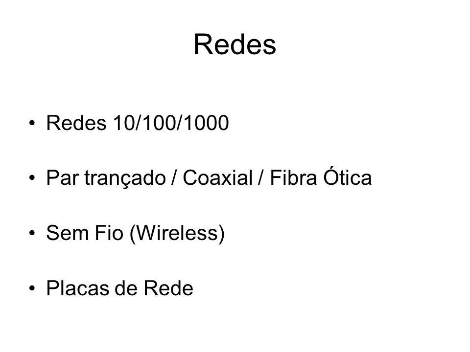 Redes Redes 10/100/1000 Par trançado / Coaxial / Fibra Ótica Sem Fio (Wireless) Placas de Rede