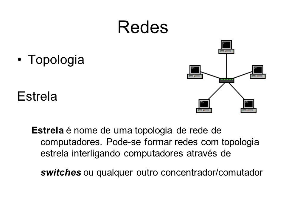 Redes Topologia Estrela Estrela é nome de uma topologia de rede de computadores. Pode-se formar redes com topologia estrela interligando computadores