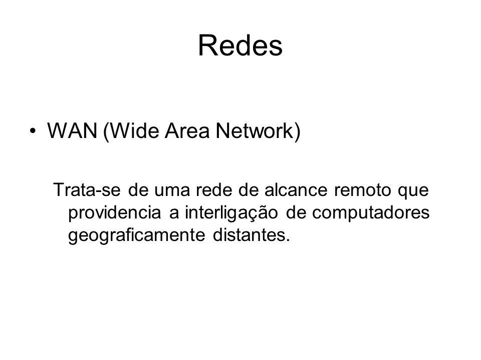 Redes WAN (Wide Area Network) Trata-se de uma rede de alcance remoto que providencia a interligação de computadores geograficamente distantes.