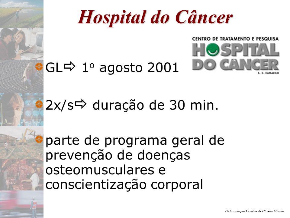 Elaborado por Caroline de Oliveira Martins Hospital do Câncer GL 1 o agosto 2001 2x/s duração de 30 min. parte de programa geral de prevenção de doenç