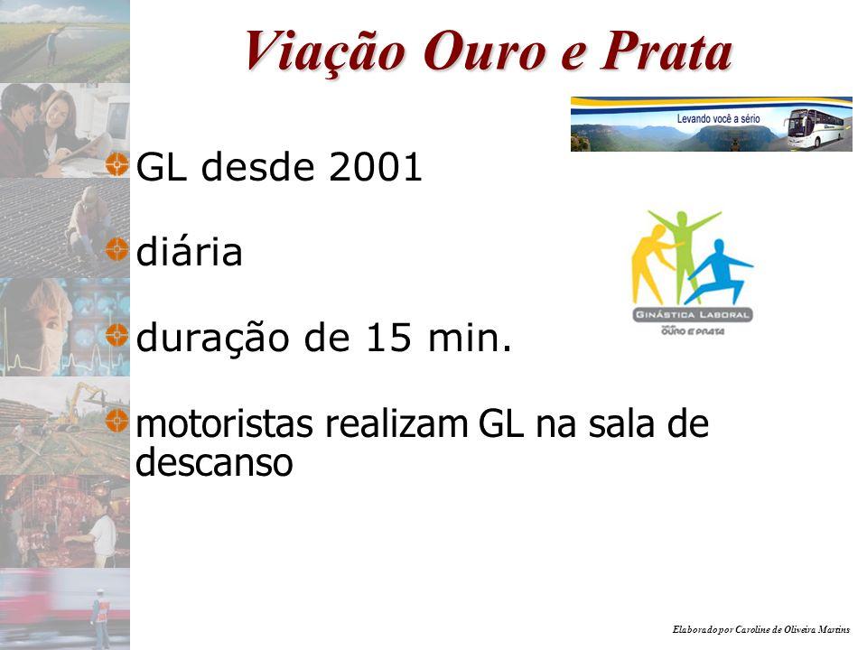 Elaborado por Caroline de Oliveira Martins Viação Ouro e Prata GL desde 2001 diária duração de 15 min. motoristas realizam GL na sala de descanso