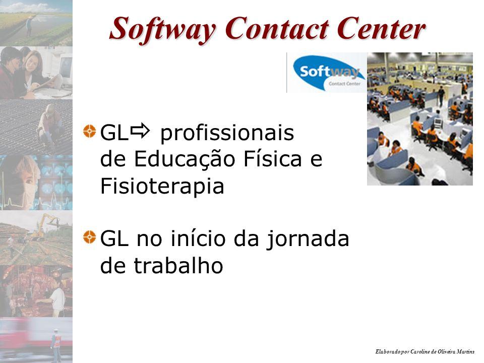 Elaborado por Caroline de Oliveira Martins Softway Contact Center GL profissionais de Educação Física e Fisioterapia GL no início da jornada de trabal