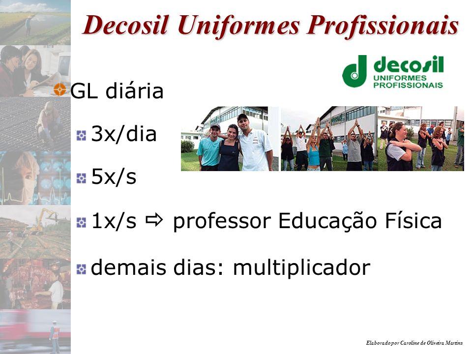 Elaborado por Caroline de Oliveira Martins Decosil Uniformes Profissionais GL diária 3x/dia 5x/s 1x/s professor Educação Física demais dias: multiplic