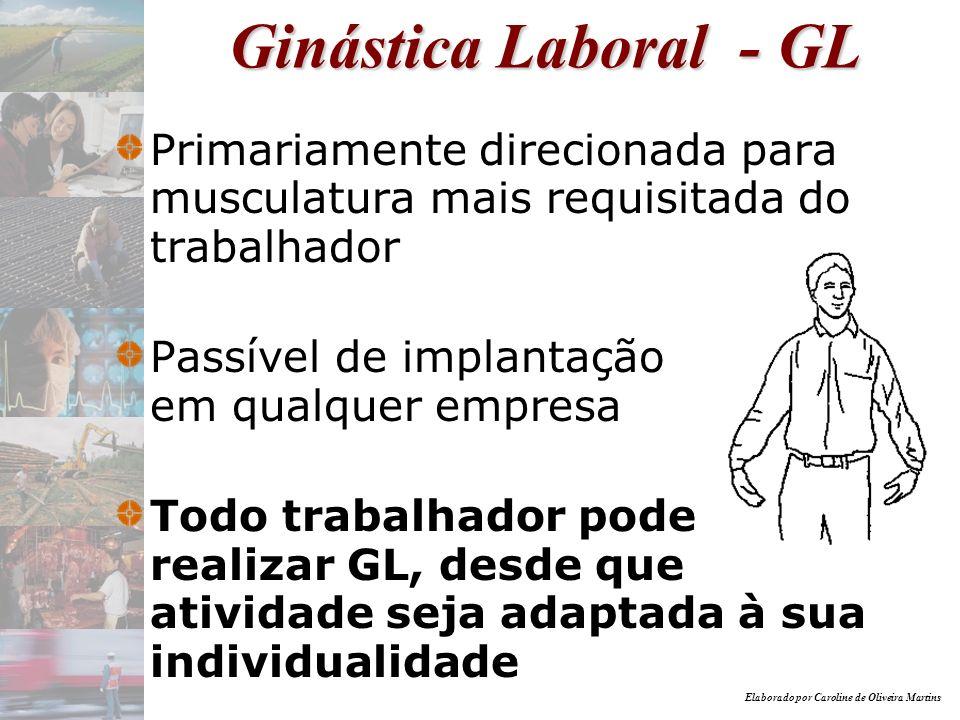 Elaborado por Caroline de Oliveira Martins Ginástica Laboral - GL Primariamente direcionada para musculatura mais requisitada do trabalhador Passível