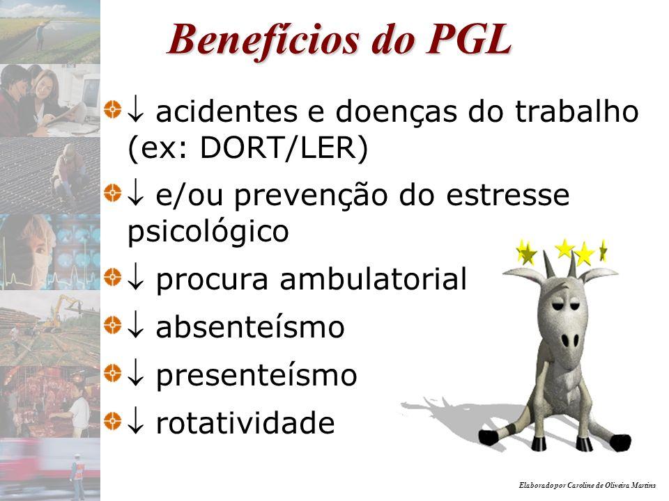 Elaborado por Caroline de Oliveira Martins Benefícios do PGL acidentes e doenças do trabalho (ex: DORT/LER) e/ou prevenção do estresse psicológico pro
