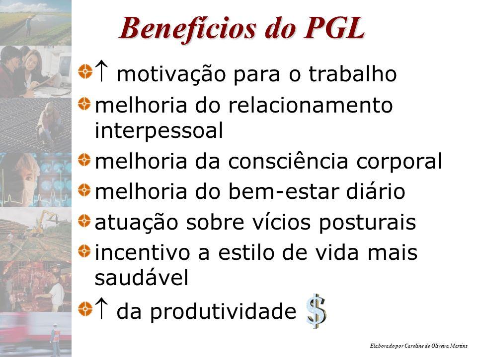 Elaborado por Caroline de Oliveira Martins Benefícios do PGL motivação para o trabalho melhoria do relacionamento interpessoal melhoria da consciência