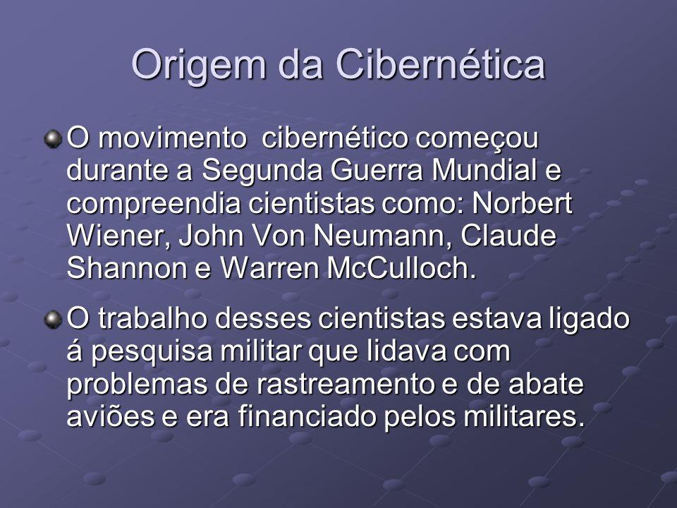 Origem da Cibernética O movimento cibernético começou durante a Segunda Guerra Mundial e compreendia cientistas como: Norbert Wiener, John Von Neumann