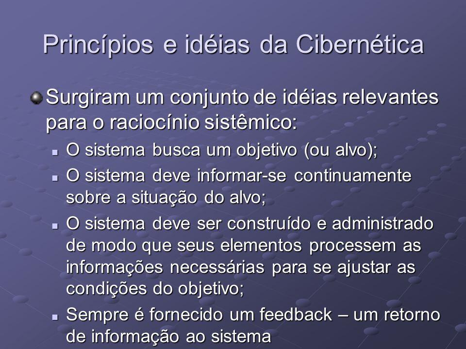 Surgiram um conjunto de idéias relevantes para o raciocínio sistêmico: O sistema busca um objetivo (ou alvo); O sistema busca um objetivo (ou alvo); O