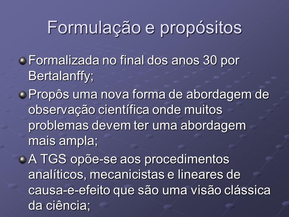 Formulação e propósitos Formalizada no final dos anos 30 por Bertalanffy; Propôs uma nova forma de abordagem de observação científica onde muitos prob