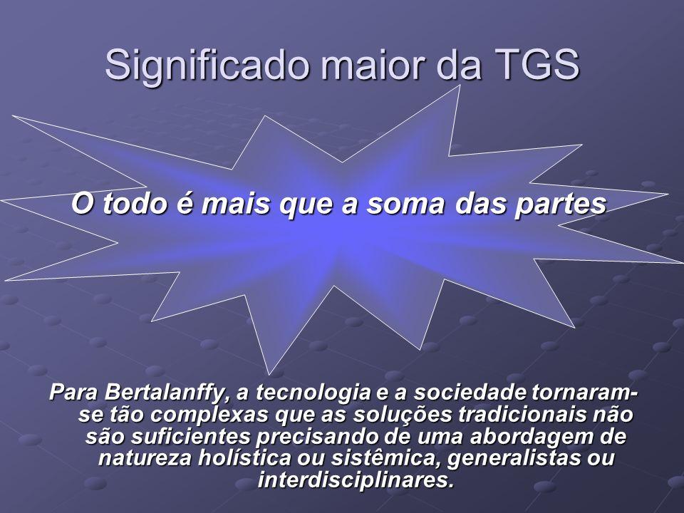 Significado maior da TGS Para Bertalanffy, a tecnologia e a sociedade tornaram- se tão complexas que as soluções tradicionais não são suficientes prec