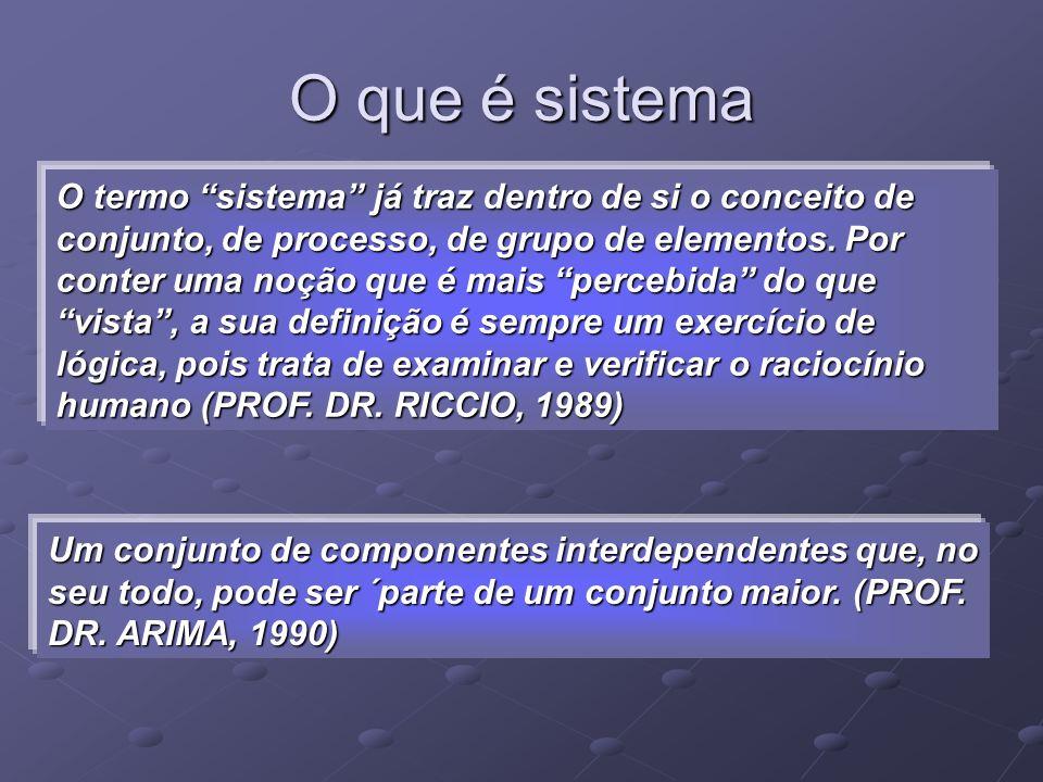 O que é sistema O termo sistema já traz dentro de si o conceito de conjunto, de processo, de grupo de elementos. Por conter uma noção que é mais perce