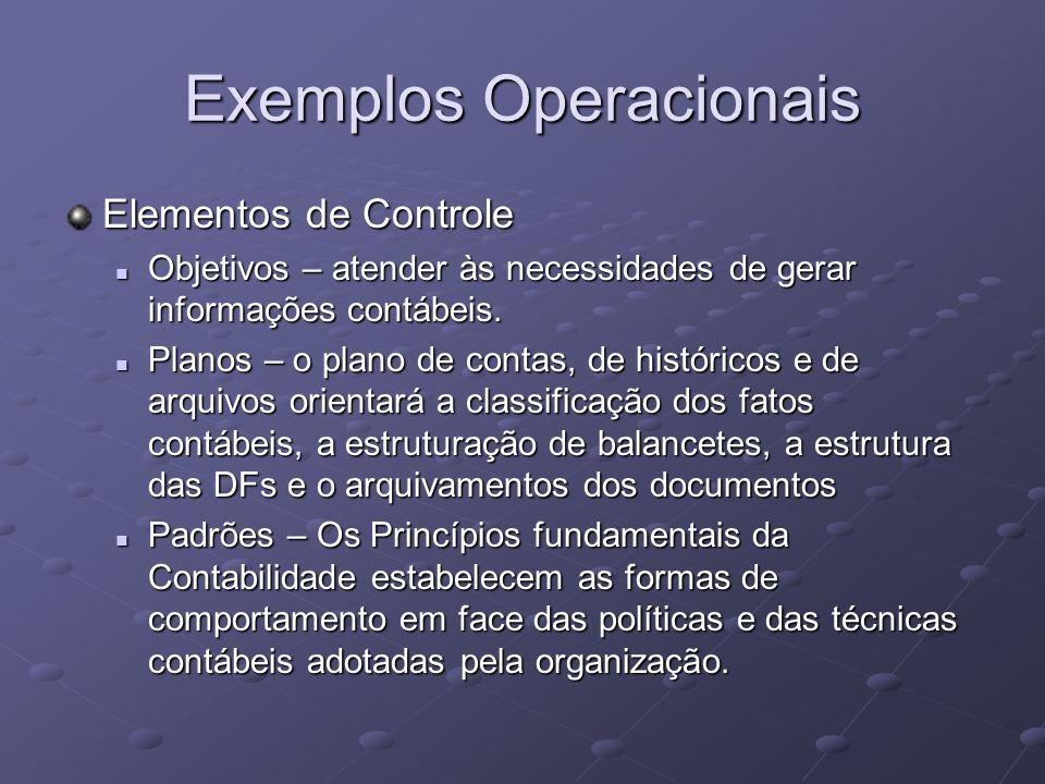 Exemplos Operacionais Elementos de Controle Objetivos – atender às necessidades de gerar informações contábeis. Objetivos – atender às necessidades de