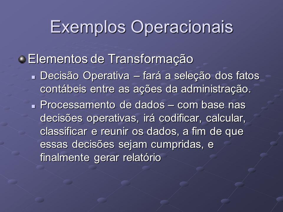 Elementos de Transformação Decisão Operativa – fará a seleção dos fatos contábeis entre as ações da administração. Decisão Operativa – fará a seleção