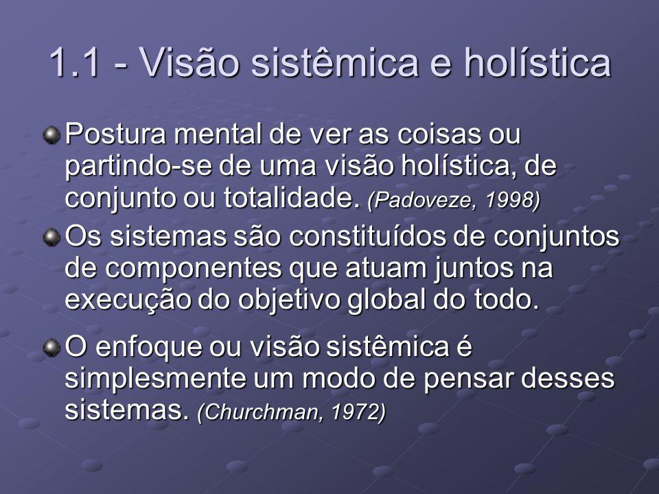 1.1 - Visão sistêmica e holística Postura mental de ver as coisas ou partindo-se de uma visão holística, de conjunto ou totalidade. (Padoveze, 1998) O