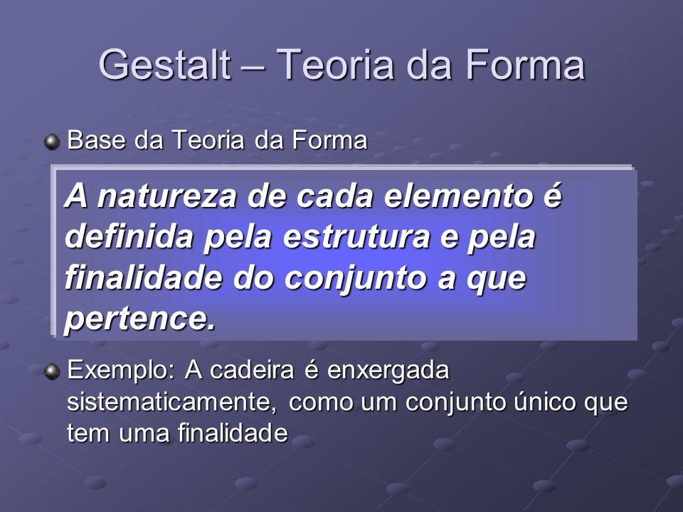 Base da Teoria da Forma Exemplo: A cadeira é enxergada sistematicamente, como um conjunto único que tem uma finalidade Gestalt – Teoria da Forma A nat