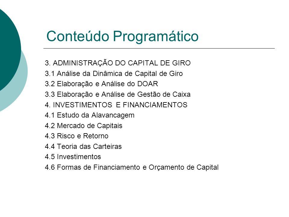 3. ADMINISTRAÇÃO DO CAPITAL DE GIRO 3.1 Análise da Dinâmica de Capital de Giro 3.2 Elaboração e Análise do DOAR 3.3 Elaboração e Análise de Gestão de